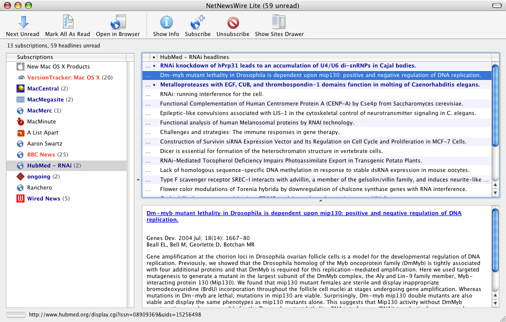 NetNewsWire Lite showing a HubMed search for 'RNAi'. Articles added to the database since the last time this search was performed are marked as unread